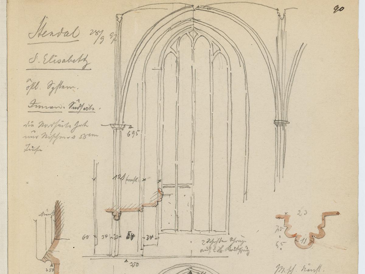 Stiehl Otto  (1860-1940), Skizzen- und Fotoalbum 11: St. Elisabeth, Stendal: Details. Bleistift aquarelliert auf Papier,  (inkl. Scanrand). Architekturmuseum der Technischen Universität Berlin Inv. Nr. 57196,110.